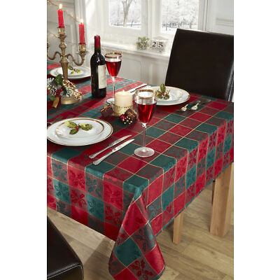 Christmas Holly Motif Jacquard Red & Green Check Tablecloth in 5 Shapes & Sizes