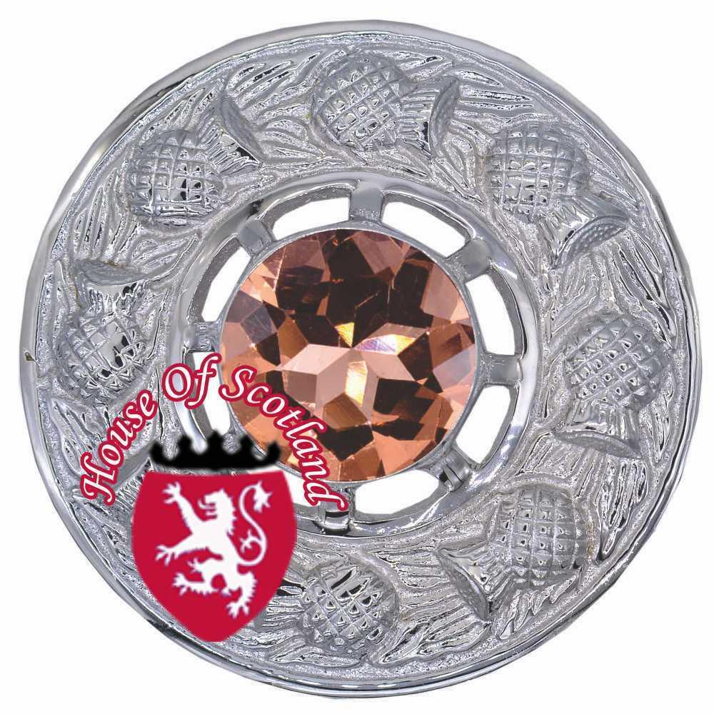 Escocés Broche para Tela Escocesa Kilt Melocotón Piedra Acabado Cromado Mujer