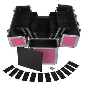 Werkzeugkoffer-fuer-Frauen-24L-Praesentationskoffer-Etagenkoffer-Pink-Schluessel