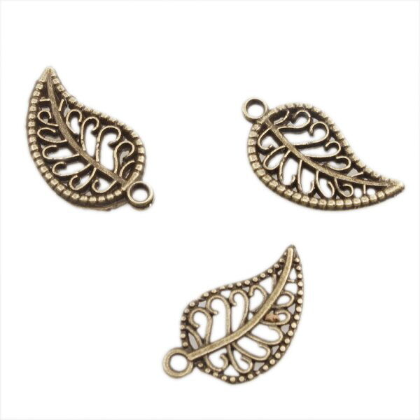 50x Bronze Leaf Dangle Charms Alloy Pendant 19mm 140193