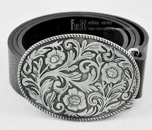 Vintage-Western-Cool-Cowboy-Cowgirl-Floral-Flower-Lady-Mens-Buckle-Leather-Belt