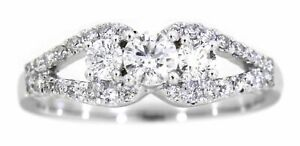 Solid-Real-Natural-Diamond-14K-White-Gold-0-68-CT-Fancy-Designer-Ring-For-Women