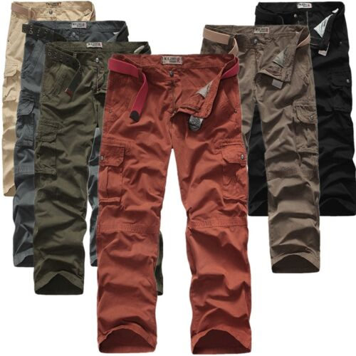 New Casual Mens Plain Pants Military Army Cargo Camo Combat Work Loose Trousers