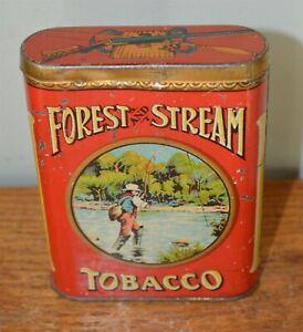 Forest-amp-Stream-Flyfishing-Scene-Tobacco-pocket-tin-Very-Nice