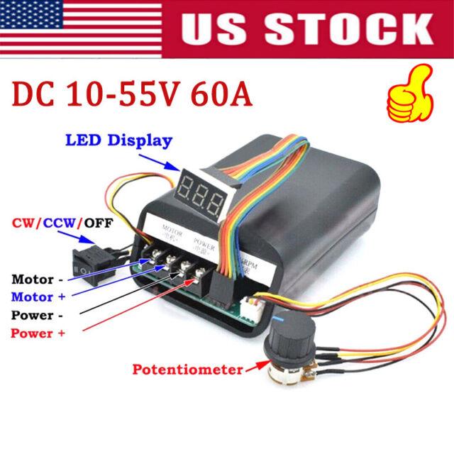 DC10-55V 12V 24V 36V PWM Motor Drehzahlregeler CW CCW Reversibel Schalter Switch