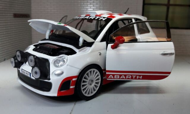 motormax 1 24 scale 73379 fiat 500 abarth r3t white red diecast model car ebay. Black Bedroom Furniture Sets. Home Design Ideas