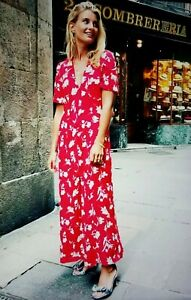 433c3f1d ZARA Red Floral Print Maxi Midi Dress Button Front Size XXLarge ...