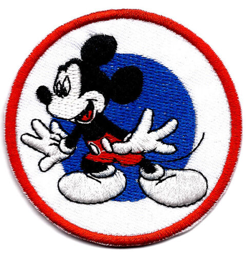"""2.75/"""" Mickey Mouse excited Embroidered IRON ON PATCH Sew On blue target red"""