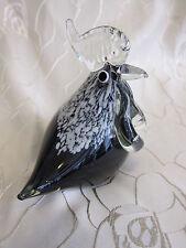 Murano Hahn Glasfigur Vogel Tier Italien Glas schwarz klar Einschlüsse weiß 130
