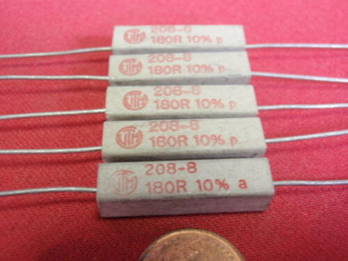 alta carico resistenza 180 Ohm cemento 5w 6x6x24mm 5x 25881 RARO