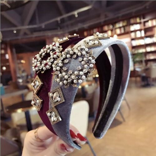 Women Pearl Retro Hair Accessories Hair Band for Girls Flower Crown Headband CO