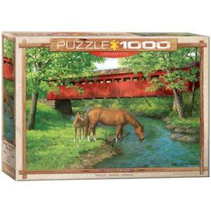 Eurographics Puzzle 1000 Piece - Sweet Water Bridge Horses Pony EG60000834