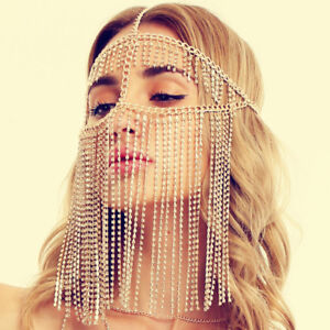 Hand-Made-Rhinestone-Chain-Tassel-Belly-Dance-Face-Mask-Costume-Veil-Masks