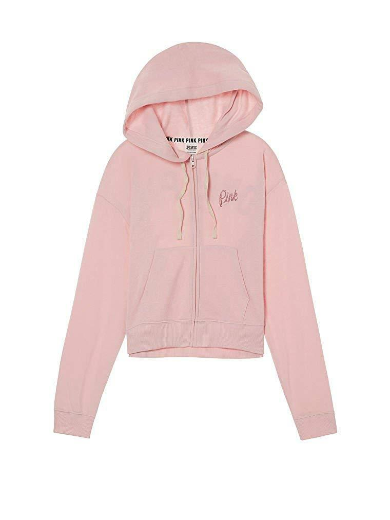VICTORIA'S SECRET Pink Pink Pink Cropped Full Zip Hoodie color Pink (XSmall) NWT 5857cd