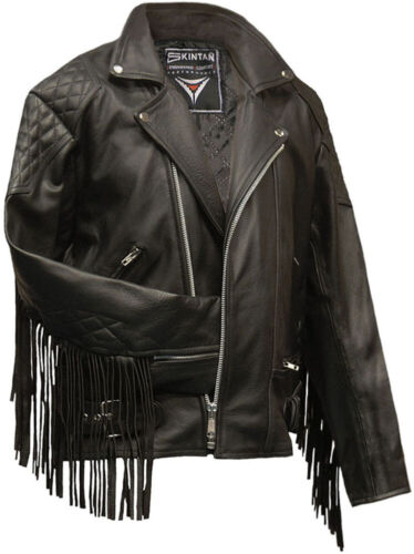 All Sizes Mens Top Grain Leather Marlon Brando Motorcycle Jacket With Tassles