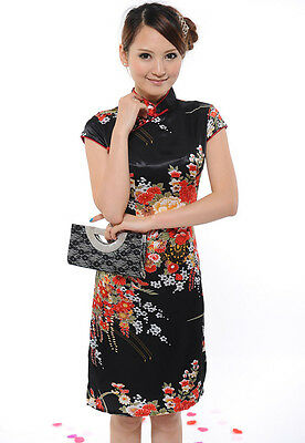 ChiPao Qi Pao Chinese Traditional Festival Dress Flower Cheongsam Tang Suit #DiD