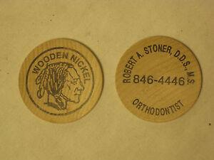 2-vintage-wooden-nickels-wood-nickel-Indian-head-Orthodontist-Promotional