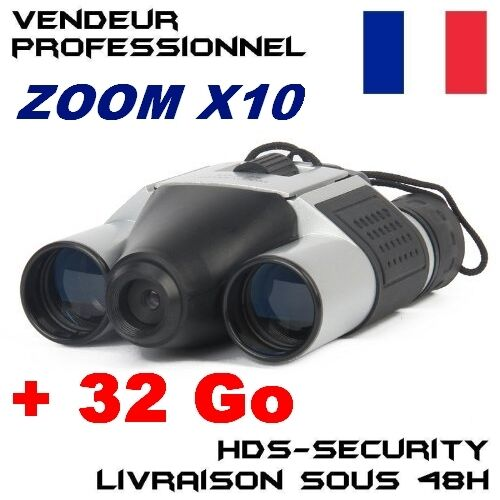 DT08 JUMELLES CAMERA ESPION + MICRO SD 32 GO GB DT-08 ZOOM X10 JUMELLE 16MM 1Km