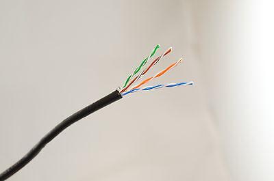 150mtr Ext Cat5e Nero Cavo Ethernet Esterno 100% Rame Più Su - Perfetto Nella Lavorazione
