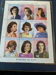 Jackie Kennedy Stamps - International Collectors Society Block of 9 - Chad
