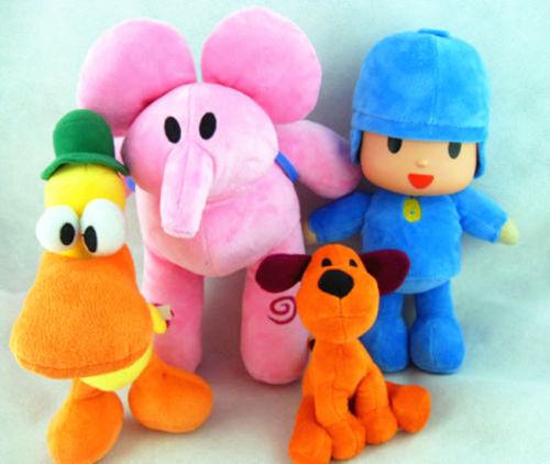 4Pcs Pocoyo Elly Pato Loula Muñecas Figura de Felpa Juguete Regalos de cumpleaños infantil conjuntos Suave