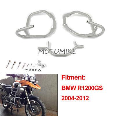 Engine Guard Crash Bar Upper Lower Protector Silver Fit BMW R1200GS 2004-2012
