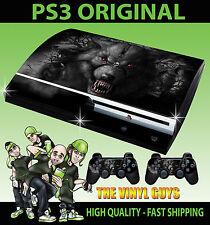 Play station 3 Console Dark Wolf Werewolf Horror Skull Style Sticker + Pad Skins