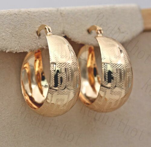 18K Gold Filled Earrings Sculpture Géométrie Rond FINESSE CHIC HOOP cadeau ONU