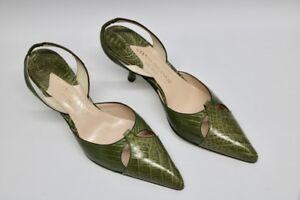 Vintage-Damen-Schuhe-Gianni-Milanesi-Dylon-Cocco-Muschio-Gruen-Groesse-38-ungetrage