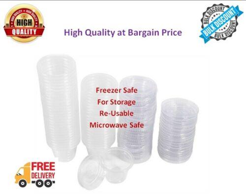 Clear Plastic Round Chutney Cups Lids Sauce Pots Deli Pots Desserts 2oz 10oz