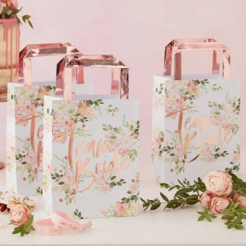 5 PARTY BAGS Floral Bride Rose Gold Party to Be Bridal Shower Hen Night Team