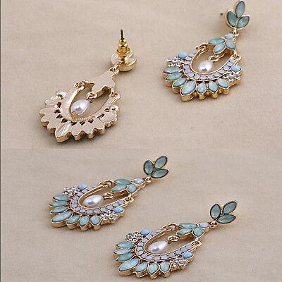 Fashion Women's Pearl Crystal Rhinestone Alloy Dangle Earring Ear Stud Jewelry