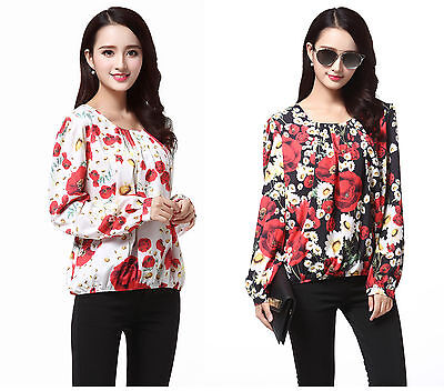 Women Ladies Chiffon Layer Ivory Poppy Floral Print Short Sleeve Lined Top 8 /&12