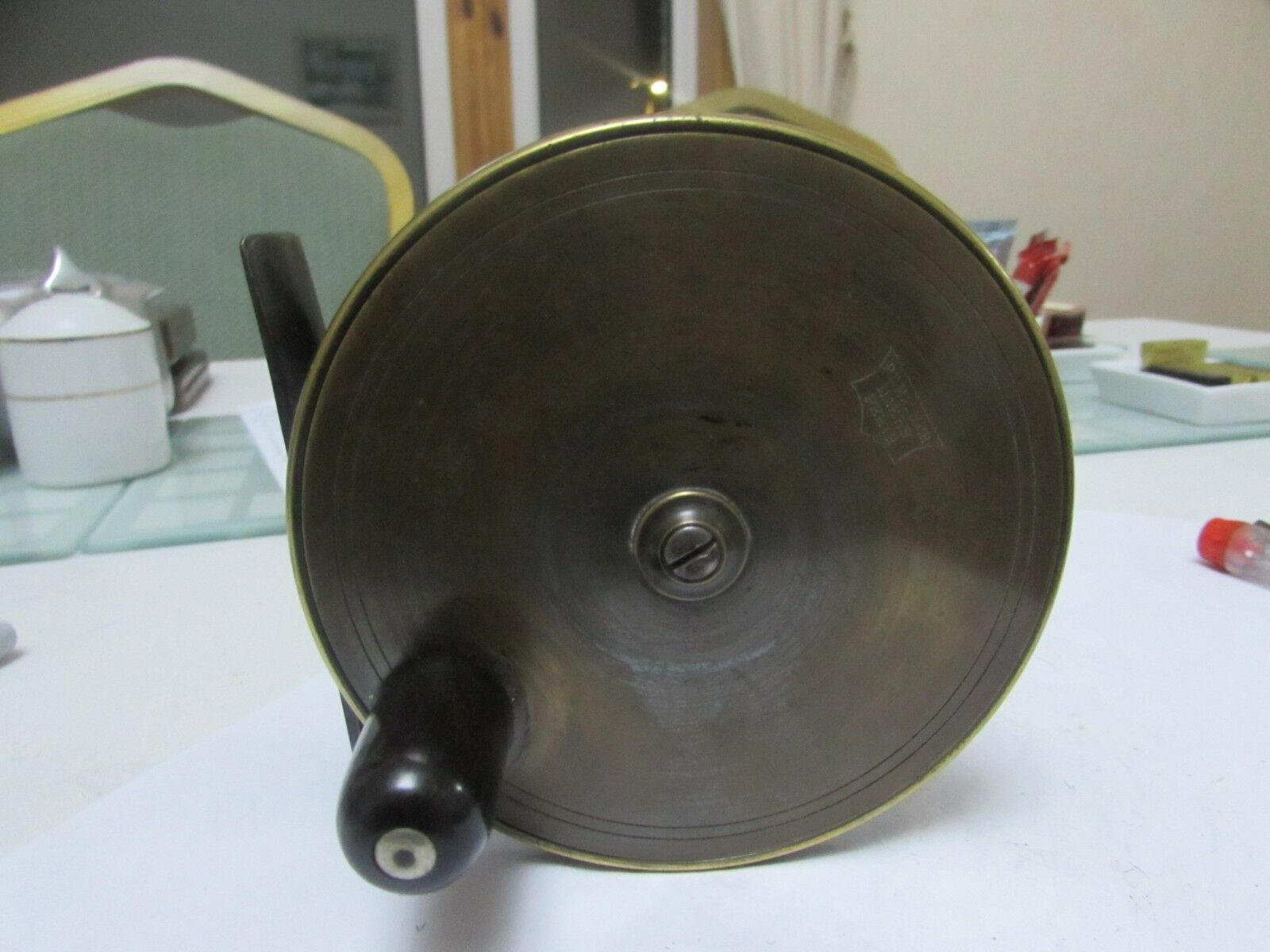 V good XX rare early vintage malloch brass platewind style salmon reel 4.25