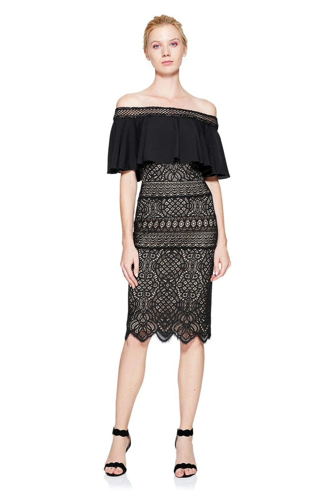 Tadashi Shoji Alexia off-the-hombro vestido, AVF17395M, Negro  desnudo, 4  colores increíbles