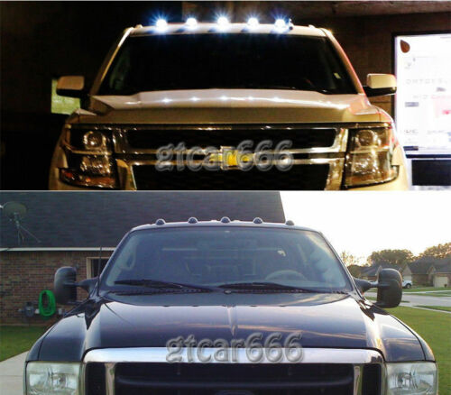 White 5050 LED For 88-02 Chevy GMC C//K 1500-3500 5 Clear Cab Roof Marker Light
