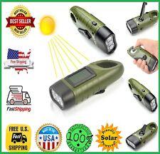 Flashlight Hand Crank Solar Power MECO Energy LED For Camping Hiking