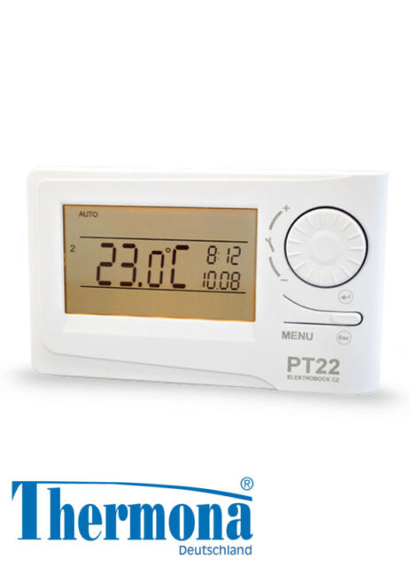 Digitaler Raumthermostat PT 22 Thermona mit hintergrundbeleuchtetem Display