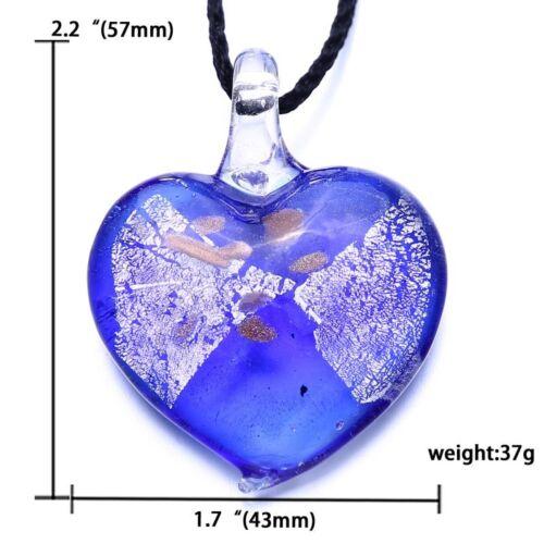 Fashion Colorful Drop Shape Heart Stripe Glass Pendant Necklace Women Jewelry