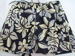 Nat-Nast-Swim-Blue-Trunks-Swim-Shorts-Mens-Size-L-Tropical-Island-Print-Board