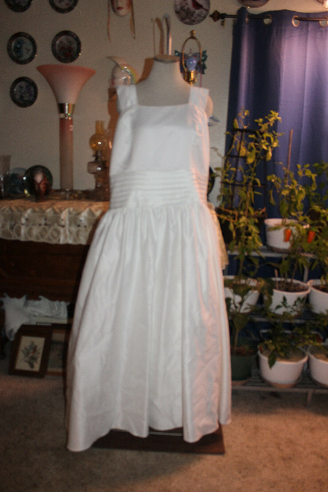 Lady Roi white satin bridal weddin  formal evening long dress with bolero 28