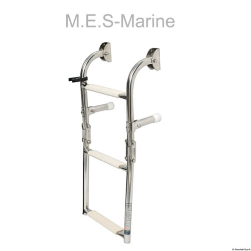 STAINLESS STEEL 3-STEP FOLDABLE BOAT LADDERS WALL MOUNTING TRANSOME FOR BOATS