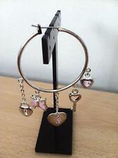 Jordan Costume Steel Pink Stone Charm Loop Hoop Earrings