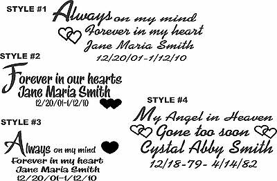 IN LOVING MEMORY CAR WINDOW DECAL.....#8....PICK YOU COLOR & STYLE