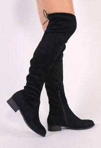 ae92ef872c7 Image is loading Public-Desire-OVER-THE-KNEE-BOOTS-IN-BLACK-