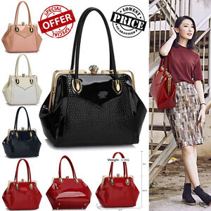New-Ladies-Designer-Handbags-Women-039-s-Faux-Leather-Patent-Stylish-Satchel-Bags