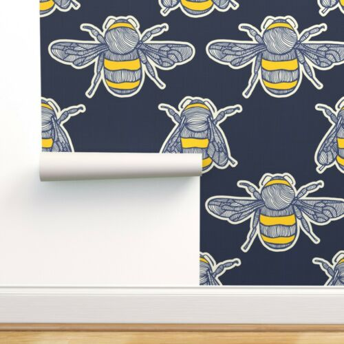 Removable Water-Activated Wallpaper Bee Summer Insect Navy Yellow Bugs Garden