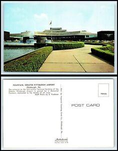 PENNSYLVANIA-Postcard-Pittsburgh-Fountain-Greater-Pittsburgh-Airport-O6