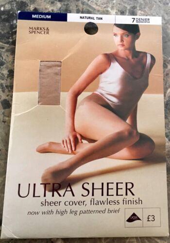 M /& S ULTRA SHEER 7 DENIER TIGHTS ~ MEDIUM ~ NATURAL TAN ~ Reinforced Toe