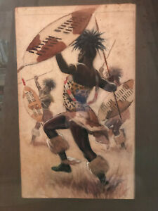 Watercolor-by-Hubert-Whatley-of-an-African-tribal-dance-framed